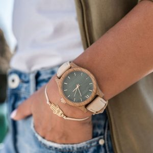 Dámske drevené hodinky Classic - Béžovo zelené