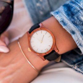 Dámske drevené hodinky Classic - Bielo čierne
