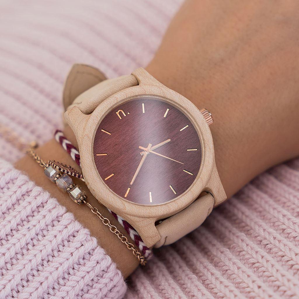 Dámske drevené hodinky Classic - Bordovo béžové