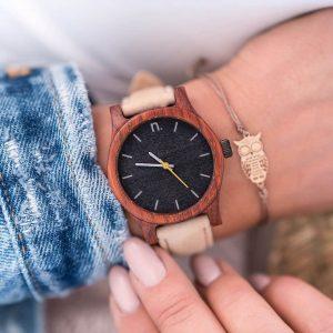 Dámske drevené hodinky Classic - Čierno béžové