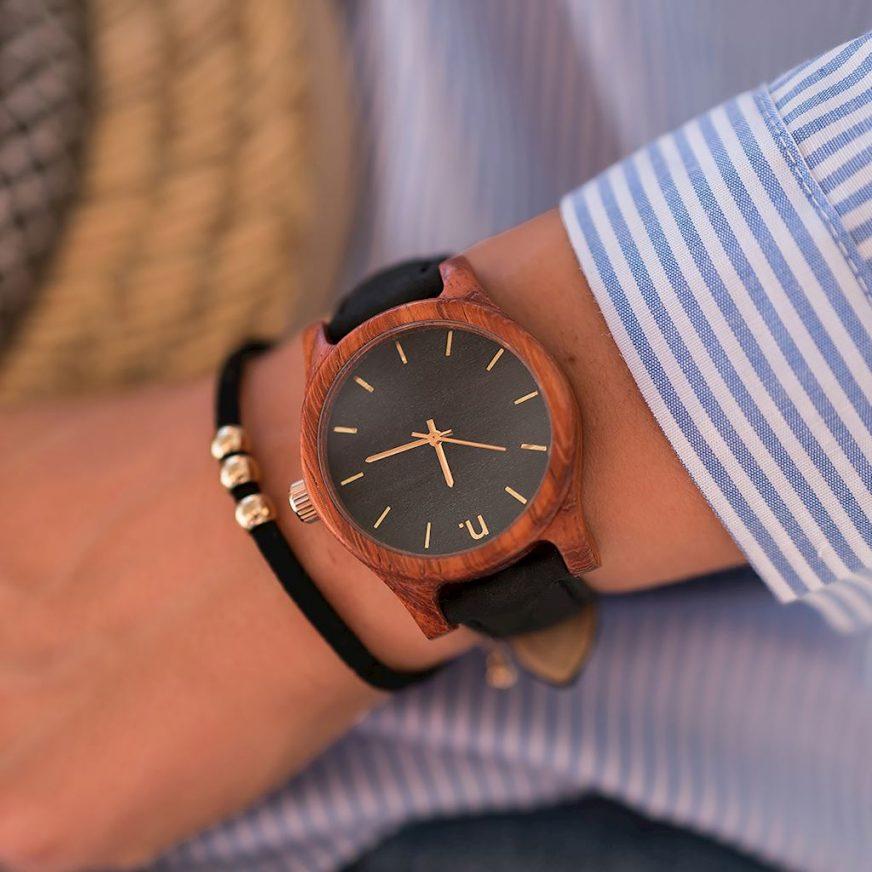 Dámske drevené hodinky Classic - Čierno zlaté