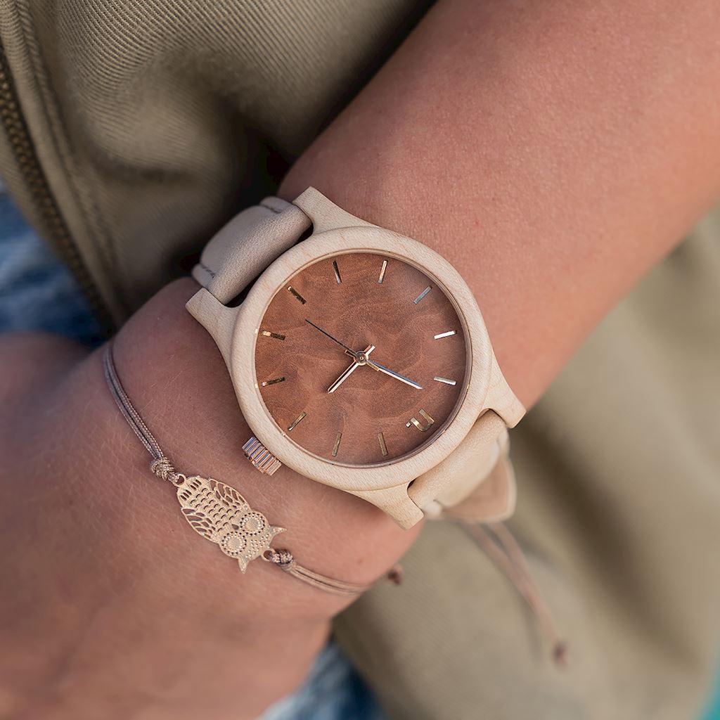 Dámske drevené hodinky Classic - Hnedo béžové
