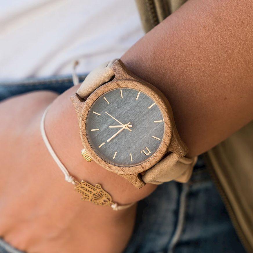 Dámske drevené hodinky Classic - Modro béžové