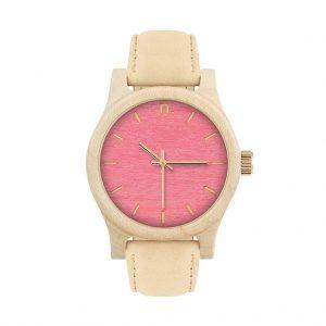Dámske drevené hodinky Classic - Ružovo béžové