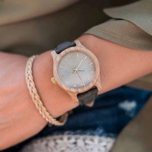 Dámske drevené hodinky Classic - Zeleno sivé