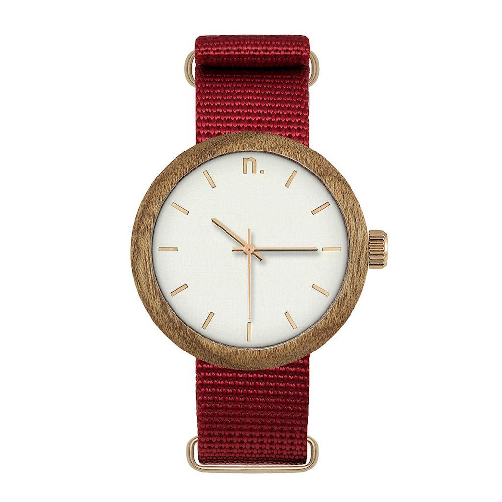 Dámske drevené hodinky New hoop - Bielo červené
