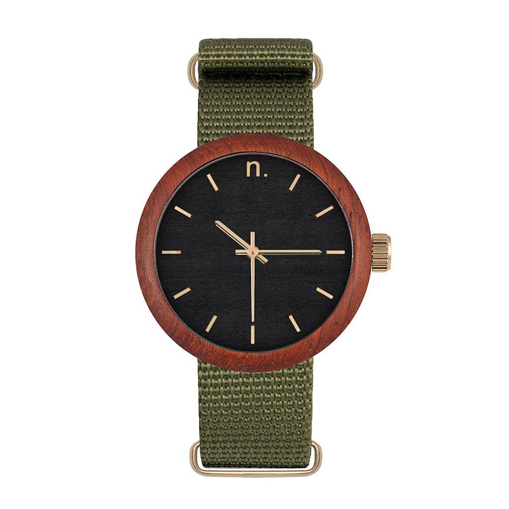 Dámske drevené hodinky New hoop - Čierno zelené