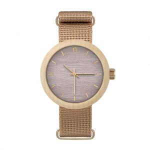 Dámske drevené hodinky New hoop - Fialovo béžové