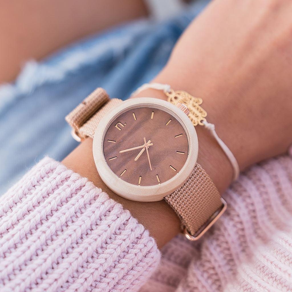 Dámske drevené hodinky New hoop - Hnedo béžové