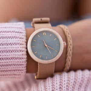 Dámske drevené hodinky New hoop - Modro béžové