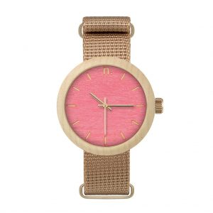 Dámske drevené hodinky New hoop - Ružovo béžové