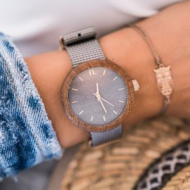 Dámske drevené hodinky New hoop - Sivé