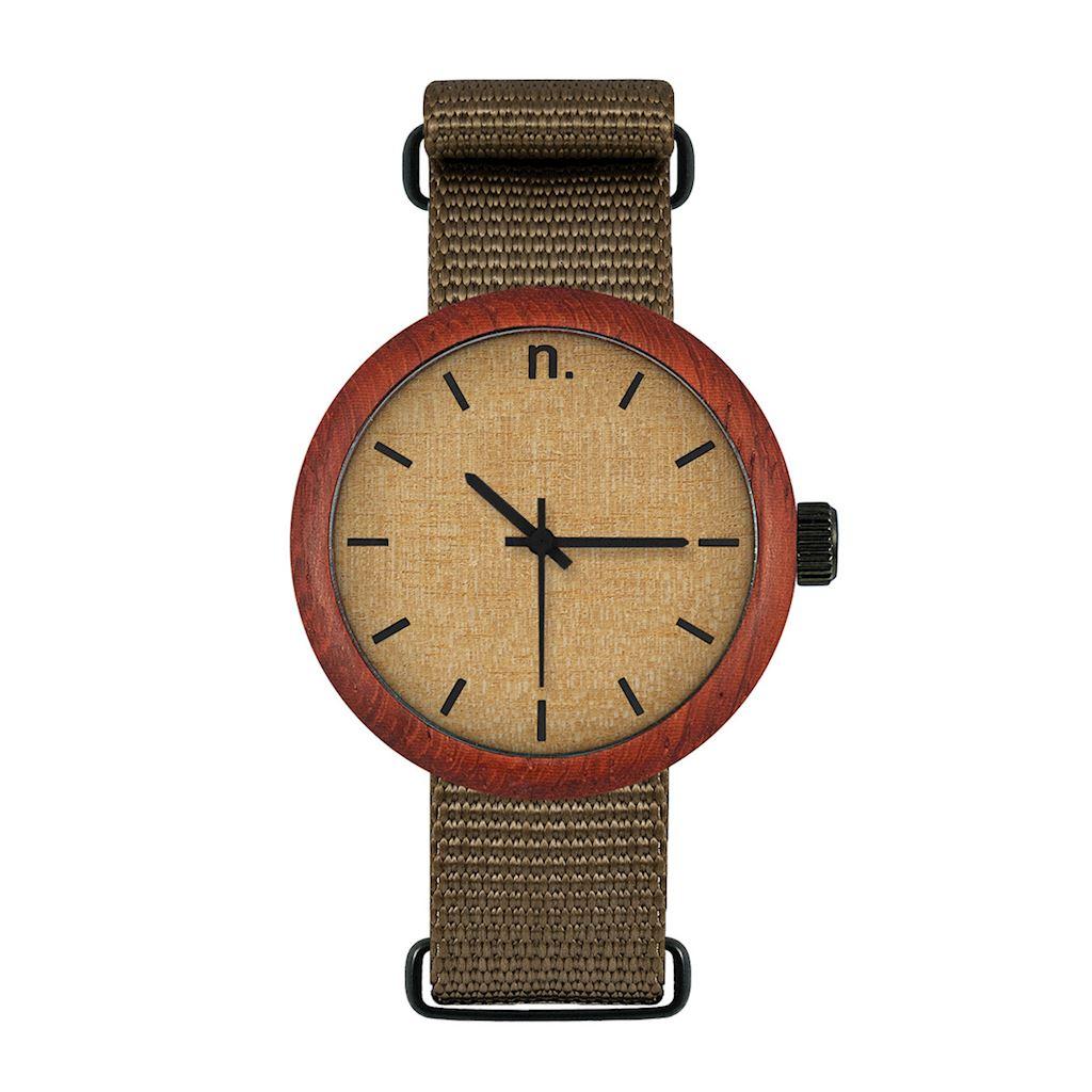 Dámske drevené hodinky New hoop - Škoricovo zelené