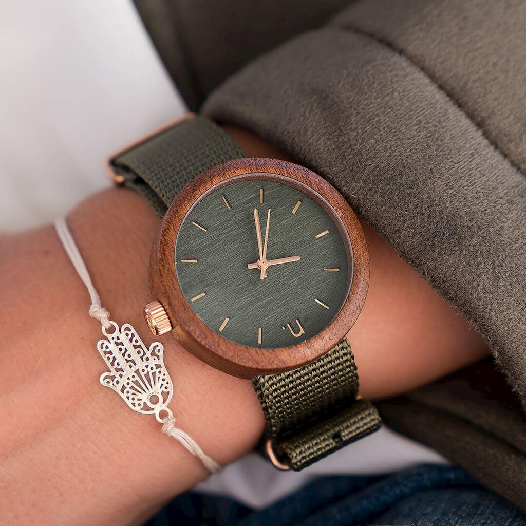 Dámske drevené hodinky New hoop - Tmavo zelené