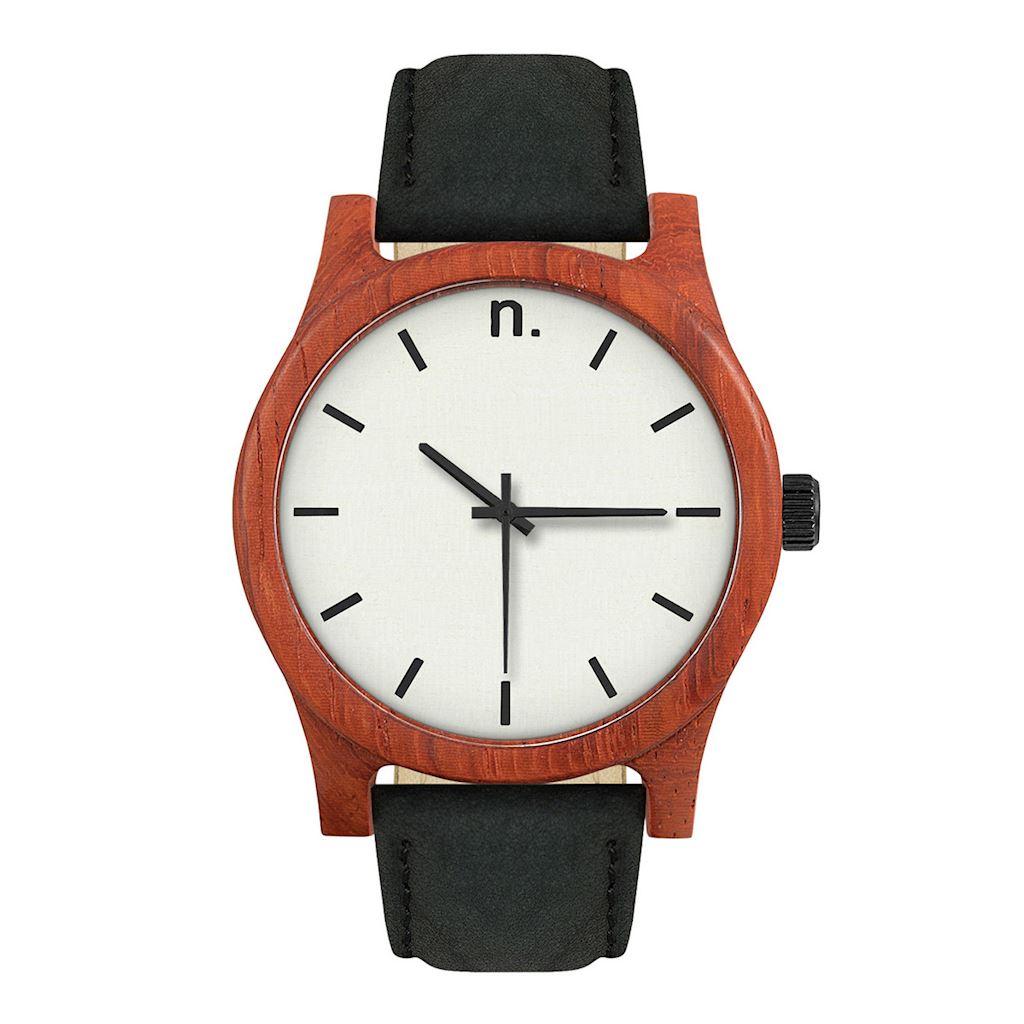 Pánske drevené hodinky Classic - Bielo čierne