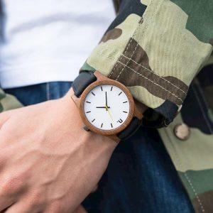 Pánske drevené hodinky Classic - Bielo čierne II