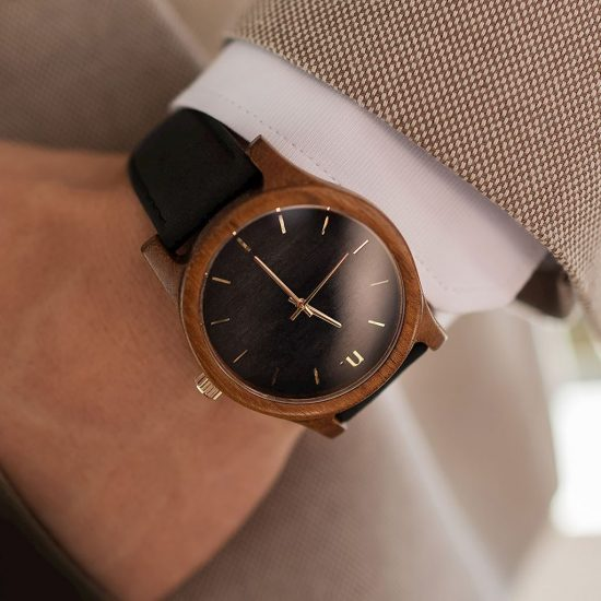 Pánske drevené hodinky Classic - Čierno zlaté