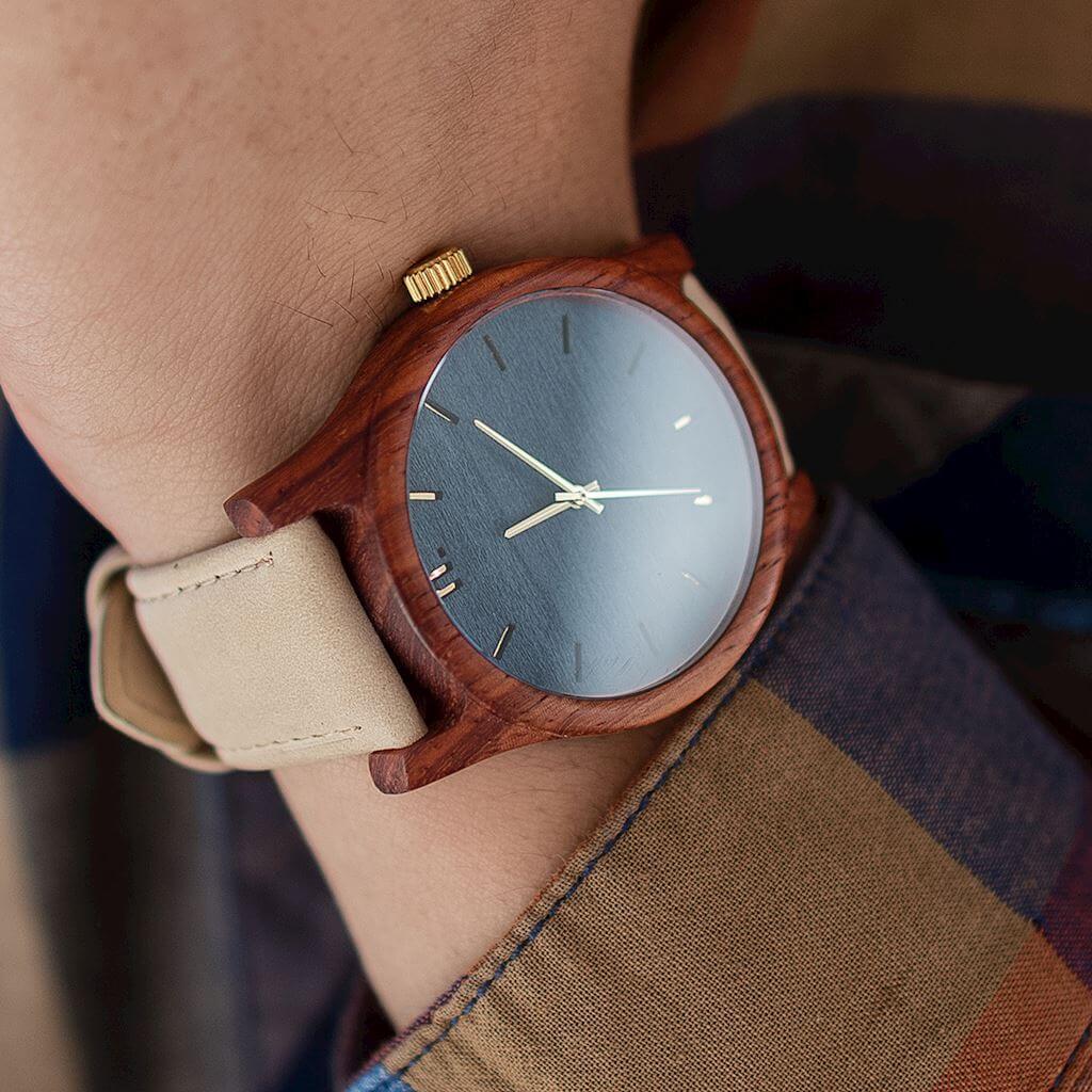 Pánske drevené hodinky Classic - Modro béžové