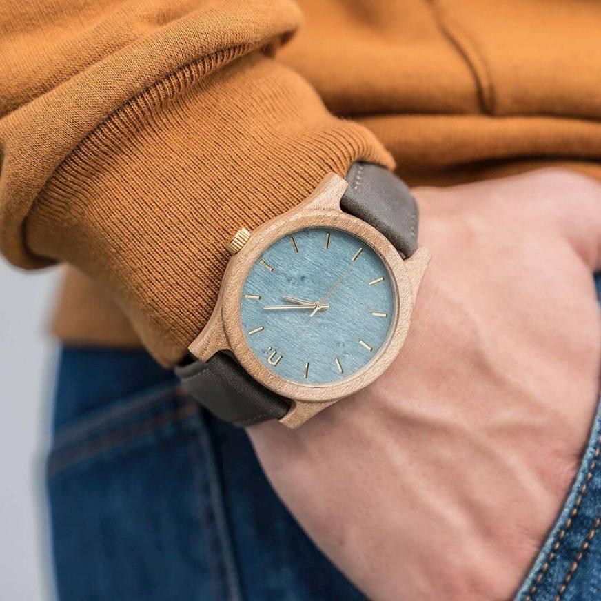 Pánske drevené hodinky Classic - Modro šedé