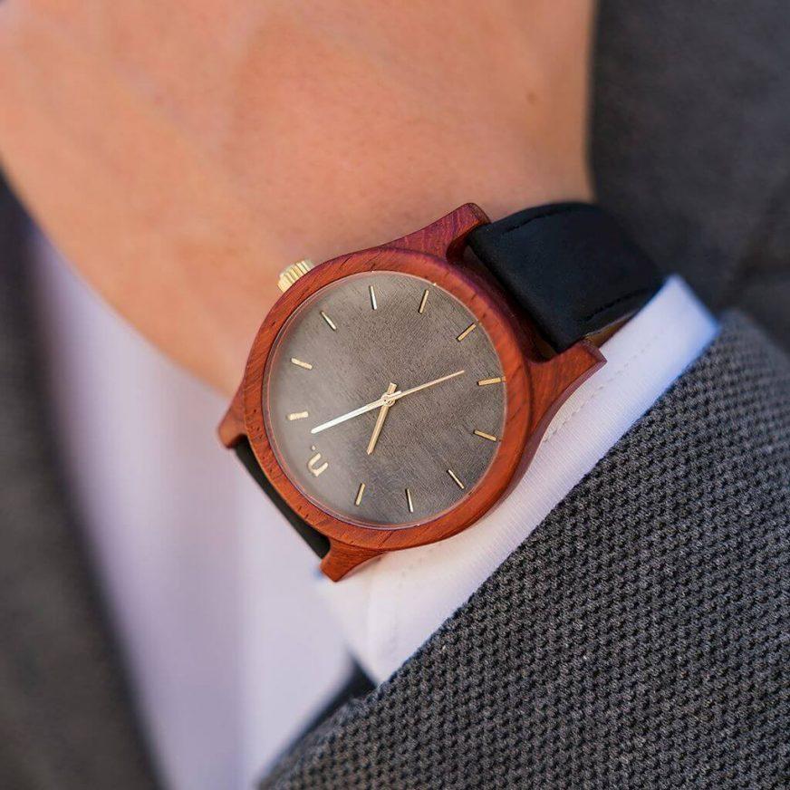 Pánske drevené hodinky Classic - Sivo čierne