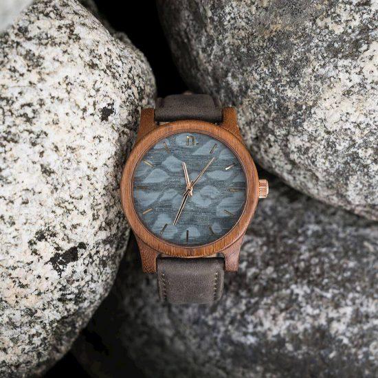 Pánske drevené hodinky Classic - Sivo zlaté
