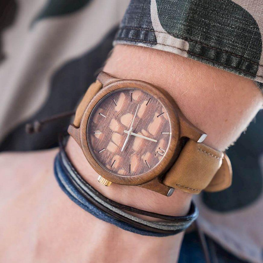 Pánske drevené hodinky Classic - Škoricové