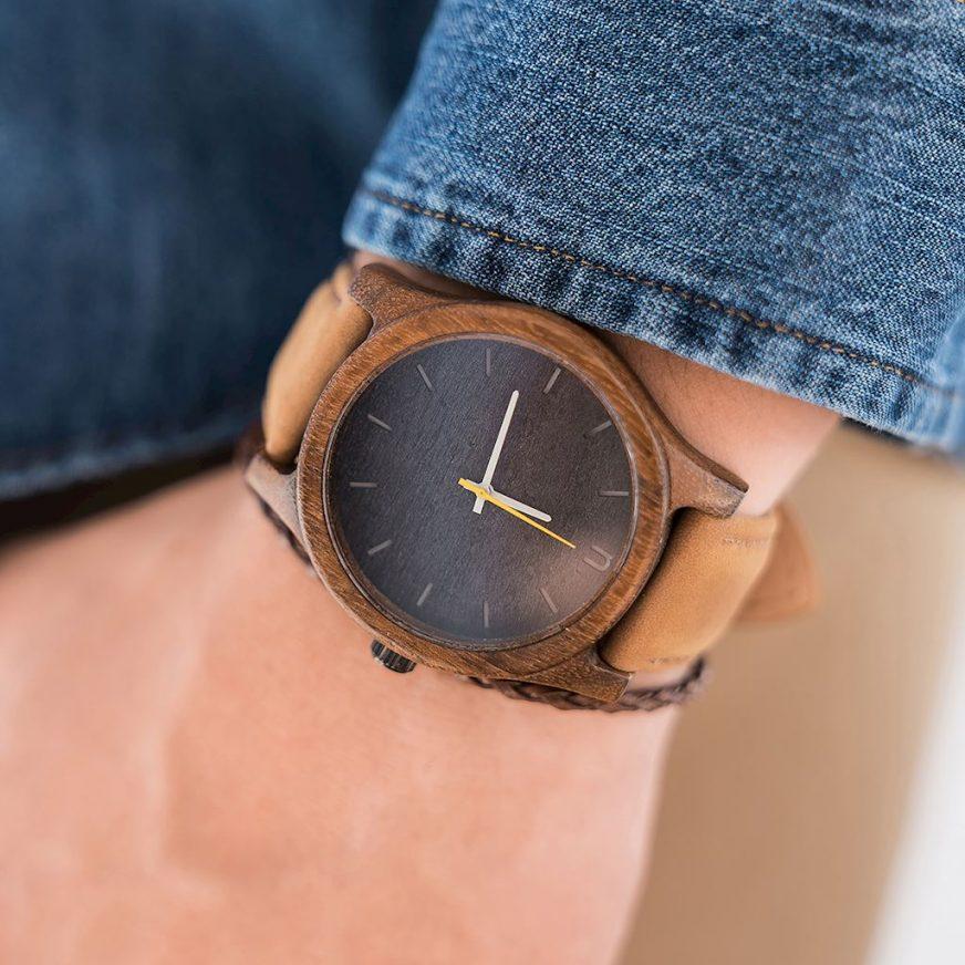 Pánske drevené hodinky Classic - Škoricovo čierne