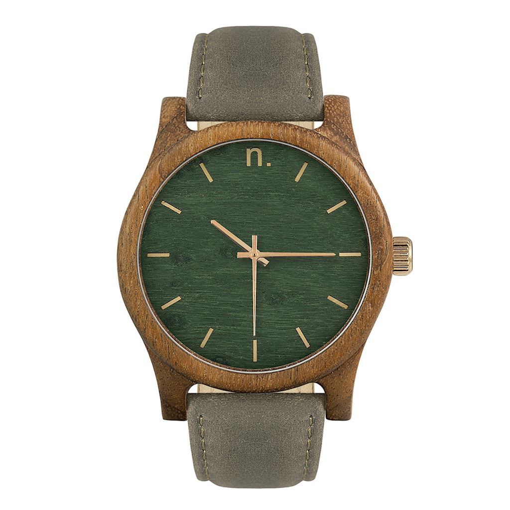 Pánske drevené hodinky Classic - Zeleno šedé