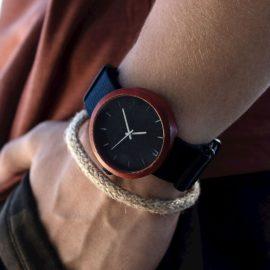 Pánske drevené hodinky New hoop - Čierno strieborné