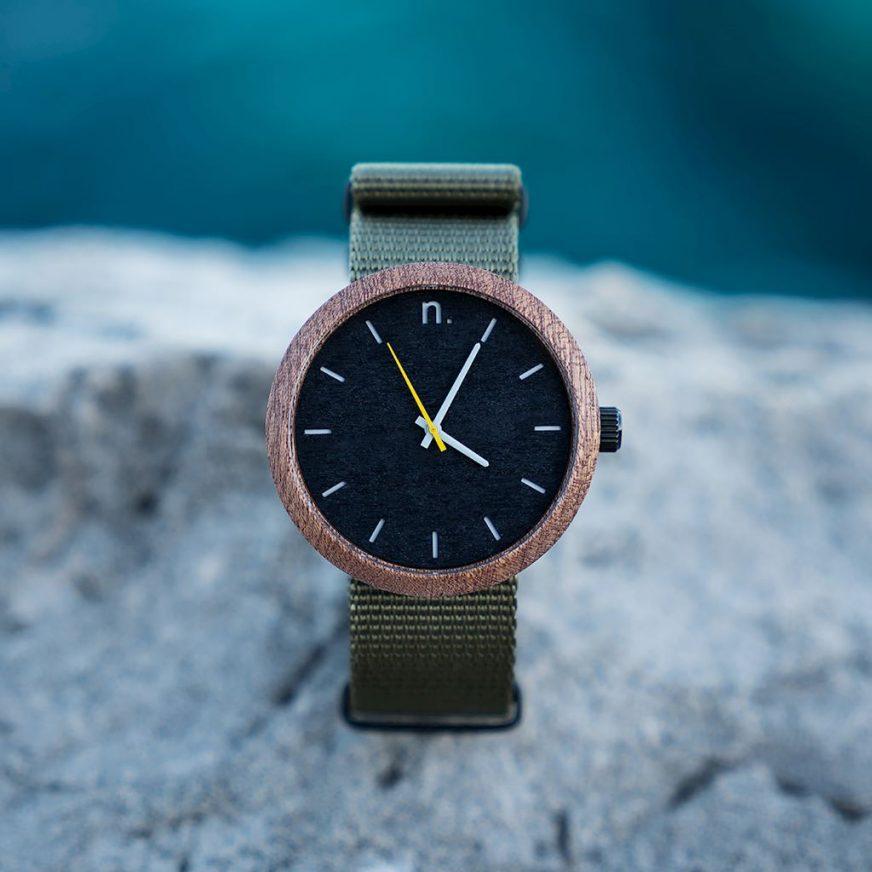Pánske drevené hodinky New hoop - Čierno zelené
