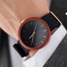 Pánske drevené hodinky New hoop - Čierno zlaté I