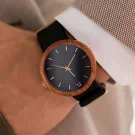 Pánske drevené hodinky New hoop - Čierno zlaté II