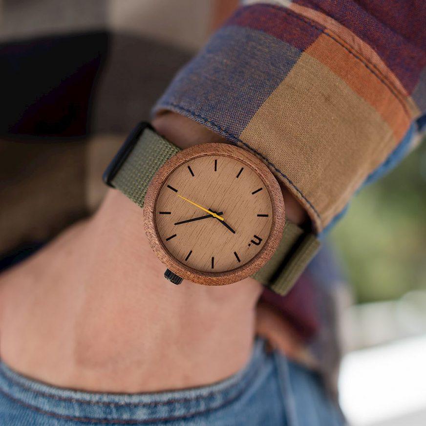 Pánske drevené hodinky New hoop - Škoricovo zelené