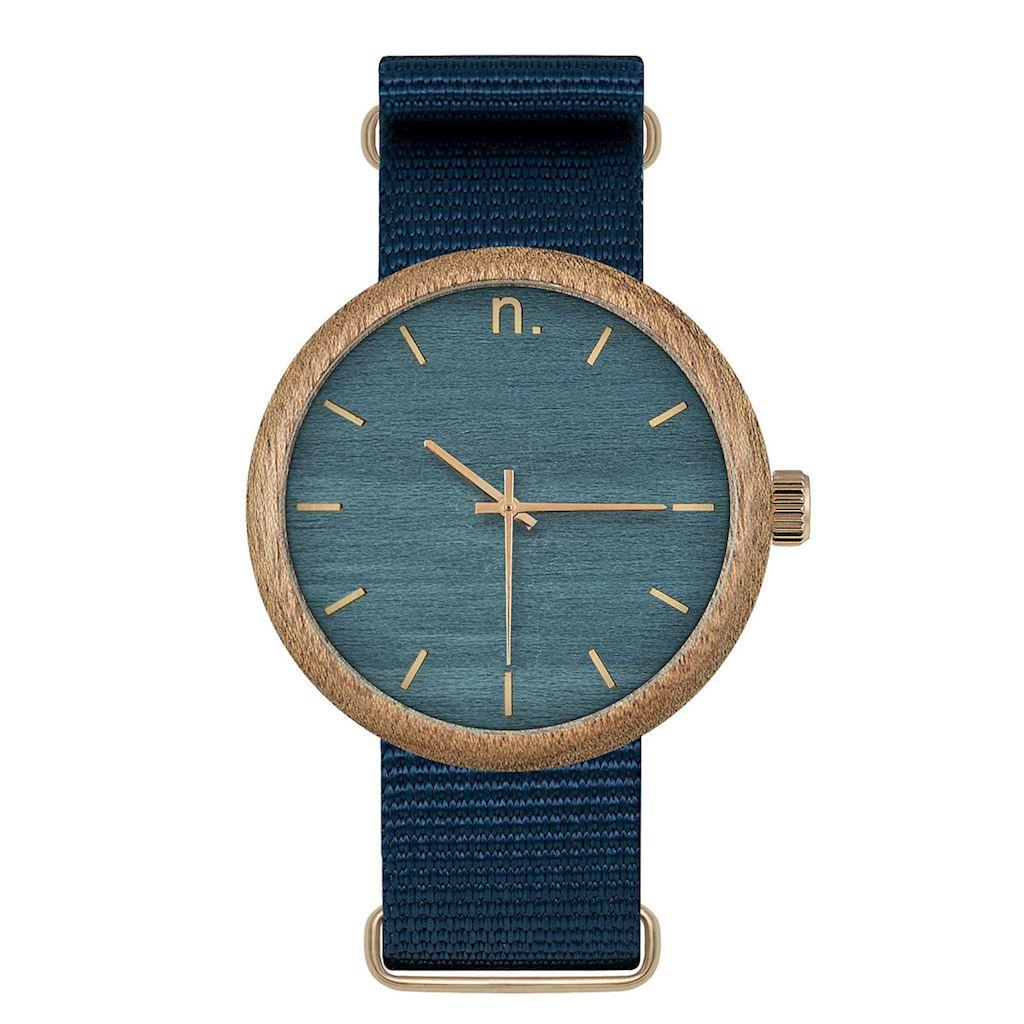 Pánske drevené hodinky New hoop - Tmavo modré