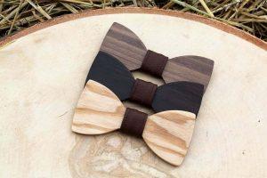 Detský drevený motýlik a traky - Hnedý