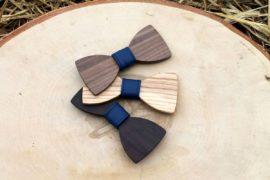 Detský drevený motýlik a traky - Modrý