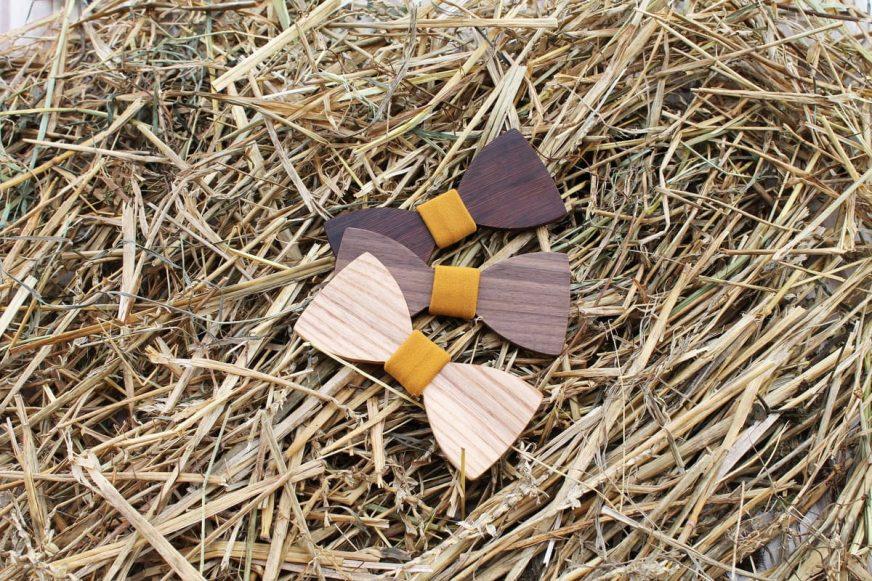 Pánsky drevený motýlik a traky  - Horčicový