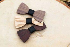 Pánsky drevený motýlik - Čierny