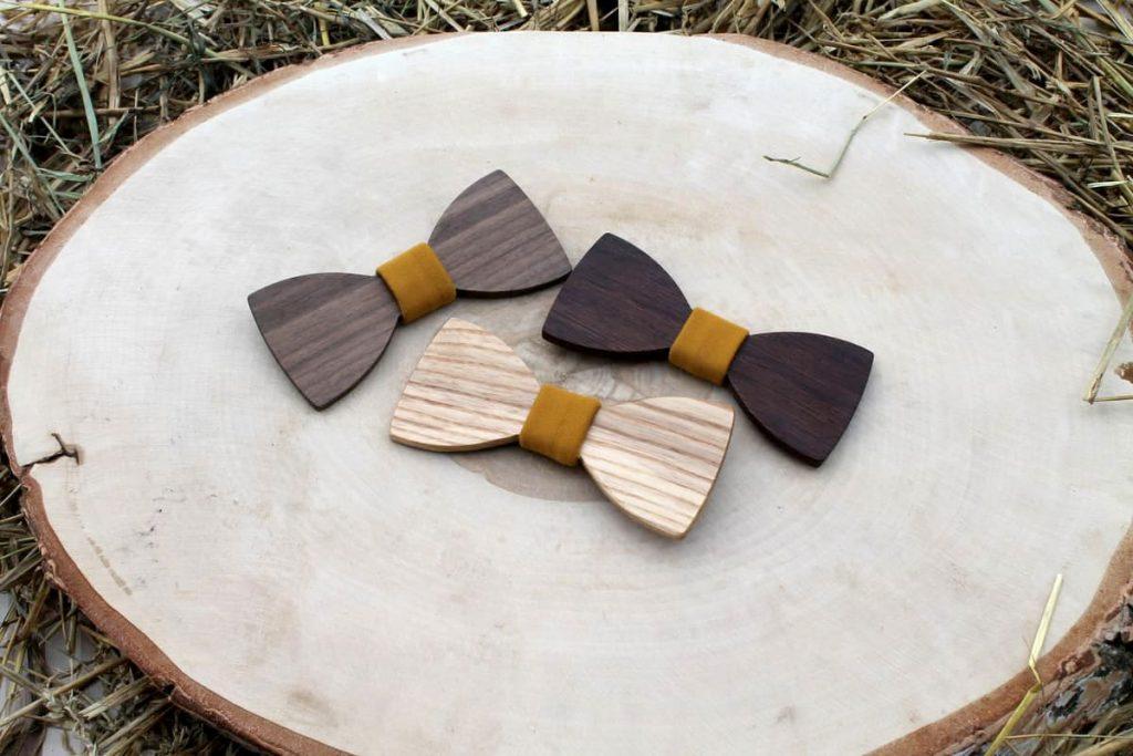 Pánsky drevený motýlik - Horčicový