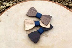 Pánsky drevený motýlik - Modrý
