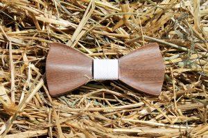 Pánsky drevený motýlik s manžetovými gombíkmi - Biely