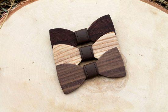 Pánsky drevený motýlik - Tmavohnedý