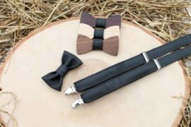 Detský drevený motýlik a traky - Čierny