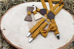 Detský drevený motýlik a traky - Horčicový