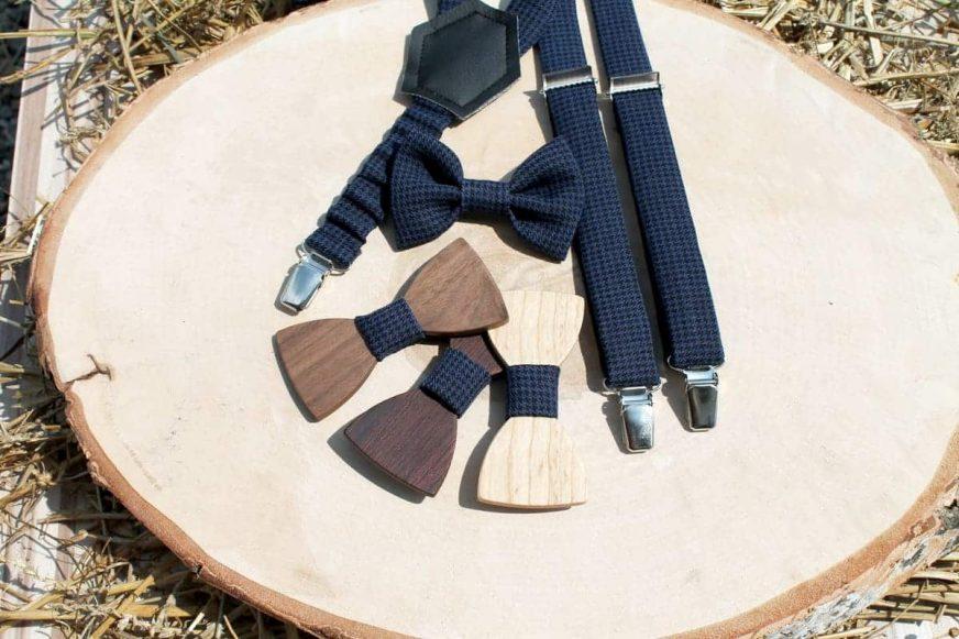 Detský drevený motýlik a traky - Modrý so vzorom