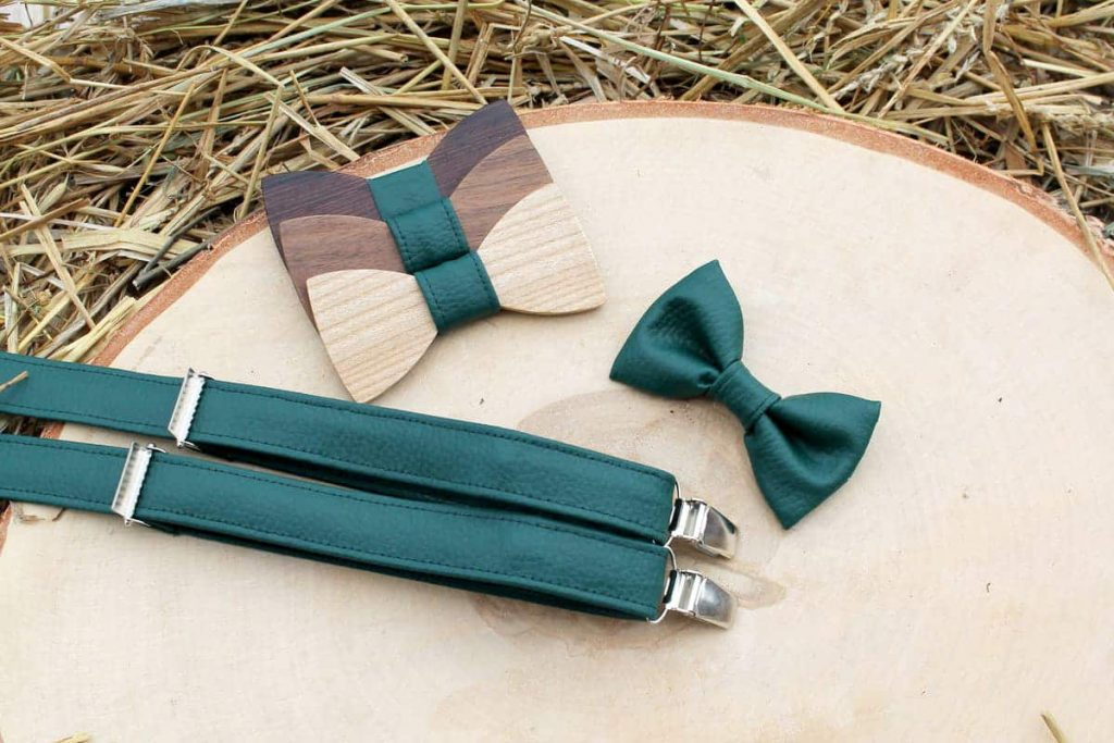 Detský drevený motýlik a traky - Zelený