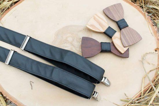 Pánsky drevený motýlik a traky  - Čierny