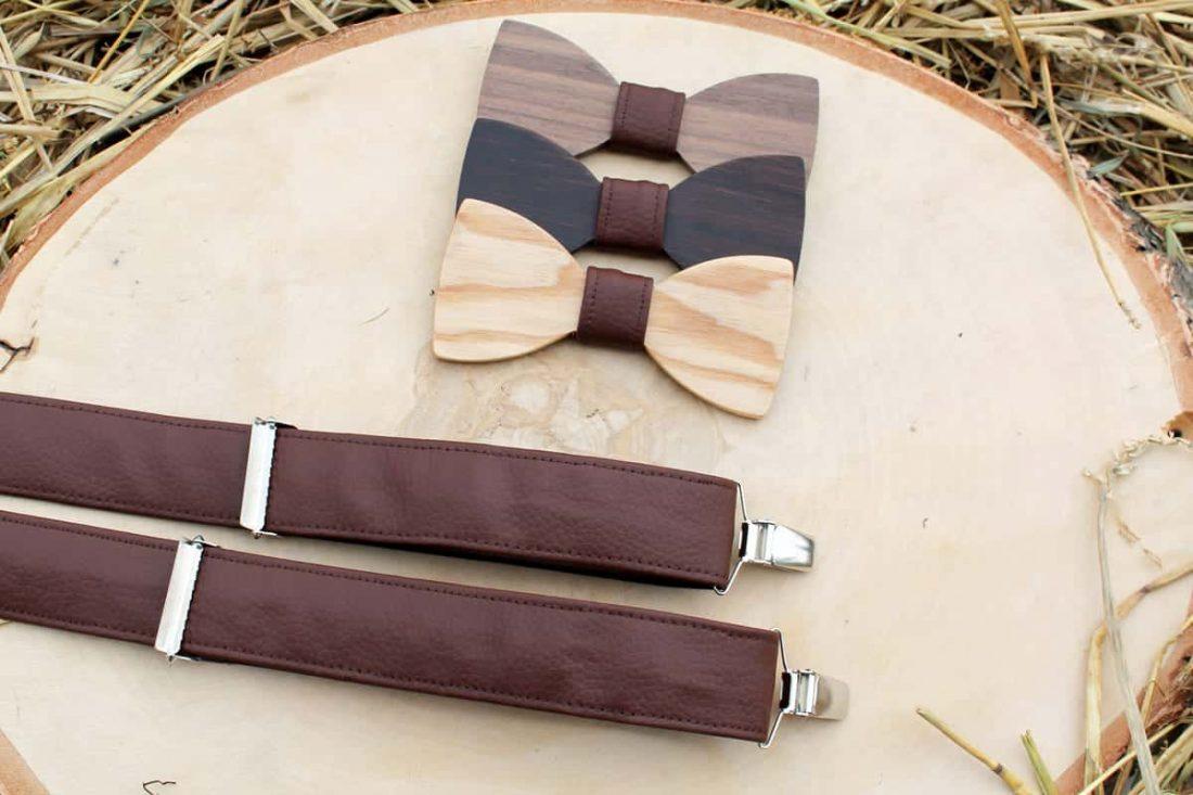 Pánsky drevený motýlik a traky  - Hnedý
