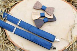 Pánsky drevený motýlik a traky  - Modrý