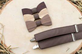 Pánsky drevený motýlik a traky  - Tmavohnedý